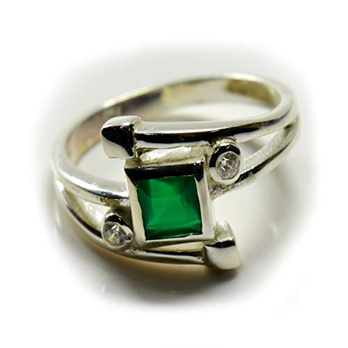 55Carat Genuine Green Onyx Rings Solid Silver Princess Shape Gemstone Handmade Jewelry for Her Size H-Z