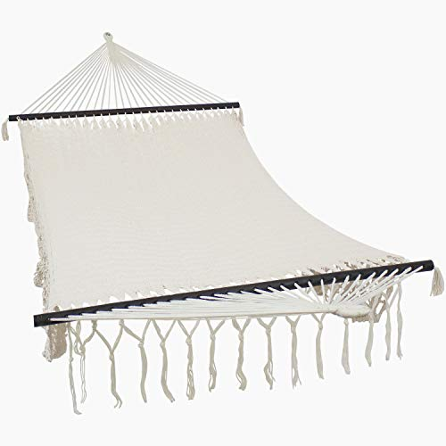 Sunnydaze Natural Deluxe Hammock with Spreader Bars - Indoor/Outdoor Use - Handwoven Cotton Construction - Heavy-Duty 770-Pound Weight Capacity - American Style