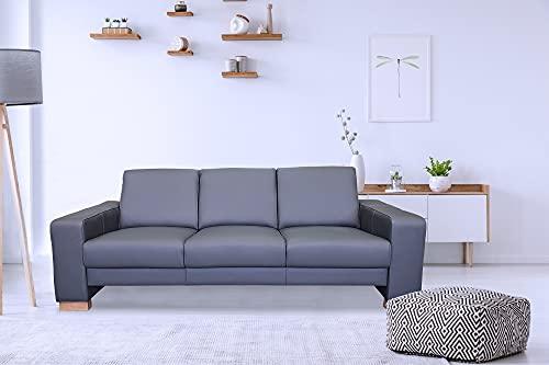 Sofá de 3 plazas Atlanta de piel auténtica, color gris oscuro, 205 cm de ancho