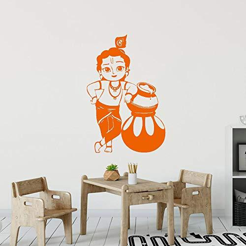 Geiqianjiumai Baby Meerjungfrau Wandaufkleber Vinyl niedlich Innenarchitektur Art Deco Orange 37x57cm
