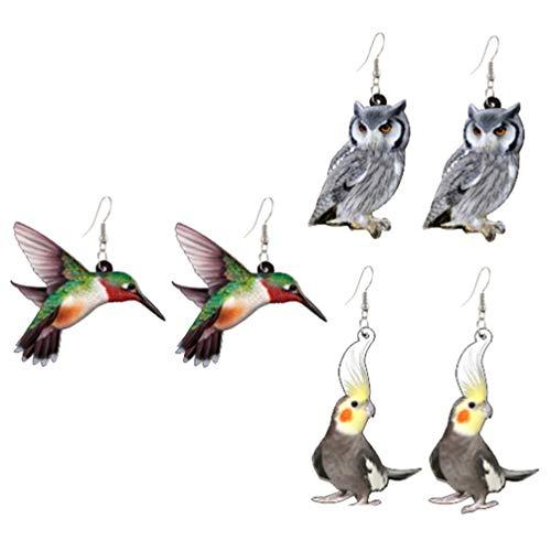 VALICLUD 3 Paar Ohrringe Vogel Acryl Neuheit Papagei Ohrringe Eule Kolibri Tier Drop Ohrringe lang Ohrringe für Frauen Mädchen