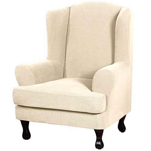 2 Piece Sofa Cover Spandex Jacquard Fabric Furniture Slipcover Stay in Place High Stretch Rich Jacquard Wing Back Armchair Slipcovers, Skid Resistance Machine Washable(Wing Chair, Natural)