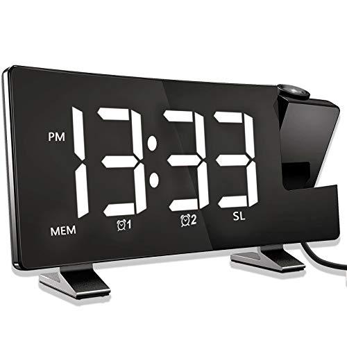 Reloj Despertador de Proyección, Despertador Digital con Radio FM, Puerto de Carga USB, Pantalla LED Curva de 7.1