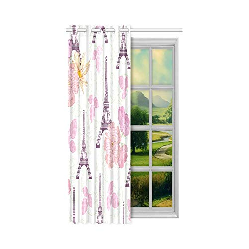 Generies Stoff Verdunkelungsvorhänge Rosa Bunte Eifel Tower Paris Polyester Verdunkelungsvorhänge 132 x 160 cm (52 x 63 Zoll) 1-Panel-Verdunkelungsvorhang für Schlafzimmer Wohnzimmer