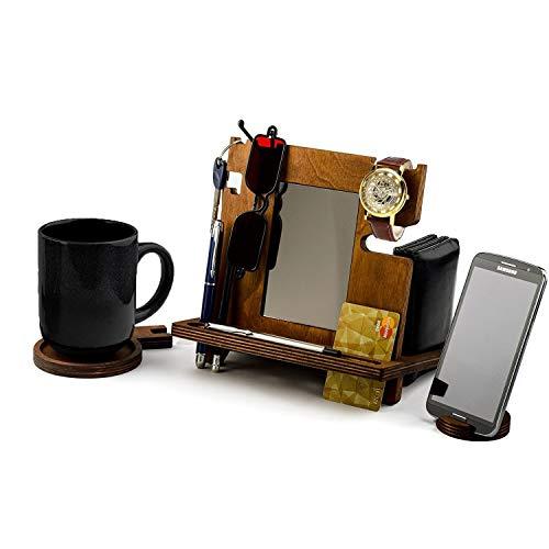 Whitewhale Holz-Dockingstation, Schreibtisch-Organizer für Smartphone, Tablet, Uhr, Geldbörse, Schattierungen, Schlüssel, Münzen, handgefertigt, Herren