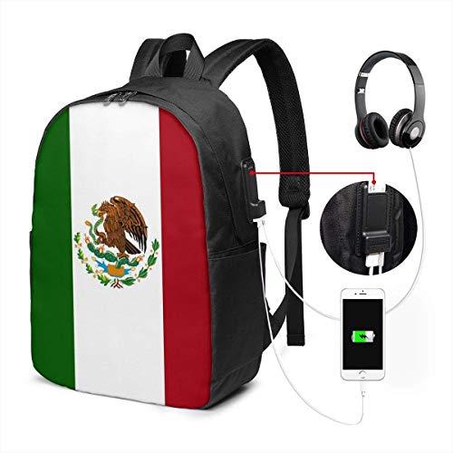 Llynice - Mochila unisex con puerto de carga USB, diseño de bandera de México