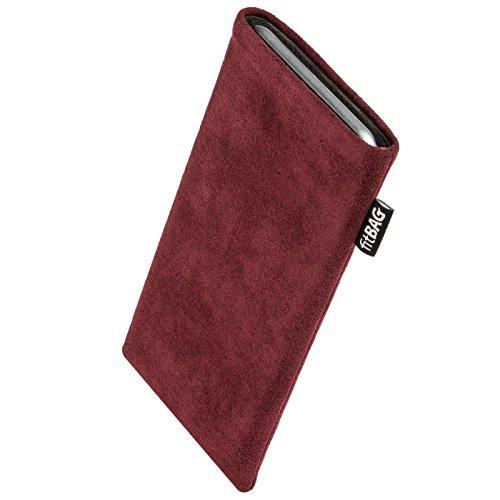 fitBAG Classic Weinrot Handytasche Tasche aus original Alcantara mit Microfaserinnenfutter für Oppo Neo 5s | Hülle mit Reinigungsfunktion | Made in Germany