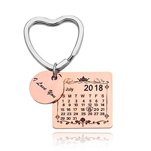 Grabado Fecha Personalizada Calendario Llavero Fecha Personalizada Col