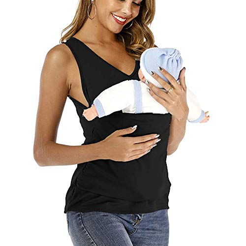 HSDCK Canguro mamá Camiseta Baby Care Nursing Maternidad de Las Mujeres Embarazo Lactancia Materna Tanque del bebé del Bolsillo del Portador del Abrigo de Bolsillo,Negro,XL