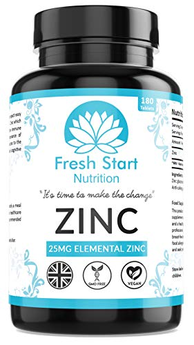 Zinc Tablets 25mg – Zinc Tablets High Strength for Maintenance of Normal Immune System, Hair, Skin, Nails & Bones - 180 Vegan Tablets – Made in The UK by Fresh Start Nutrition
