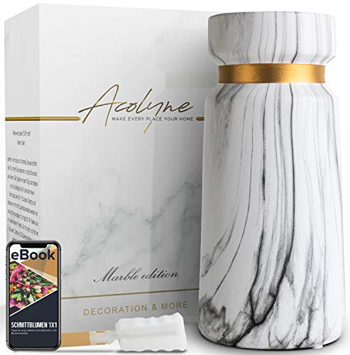 Acolyne® Premium Vase Weiß aus Hochwertigen Keramik [MIT REINIGUNGSSCHWAMM & EBOOK] als Moderne Marmor-Optik   Blumenvase Weiß als Marmor Deko   Weiße Vase   Vasen Deko auch geeignet für Pampasgras