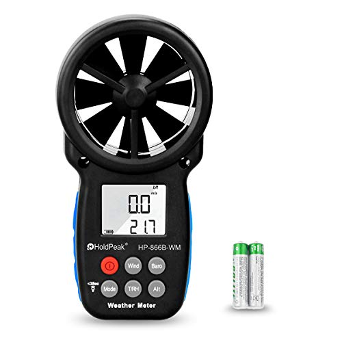 HOLDPEAK 866B-WM Digital Anemometer Handheld Wind Speed Meter with Altitude and hpa measurement, for Measuring Wind Speed, Temperature (℃/℉),Dew point and Wind Chill with Backlight and Humidity Tester
