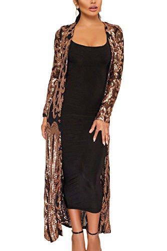 Yulinge La Mujer Lentejuelas Sheer Cardigan Chaqueta Outwear Longitud del Tobillo Oro XXL