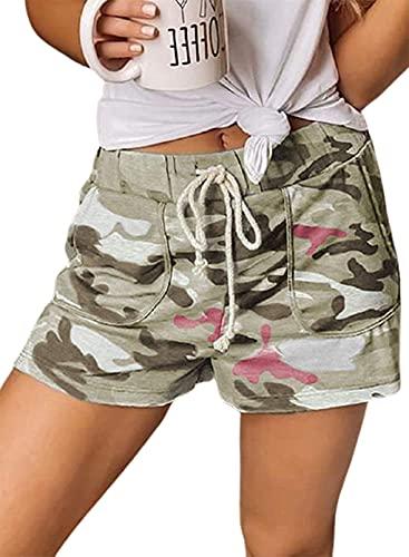 CORAFRITZ Pantalones cortos sueltos de verano con estampado de camuflaje para mujer