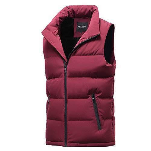 Chaleco para hombre de otoño e invierno cálido plumón ropa de algodón para hombre grande y grueso casual chaleco Gules XL