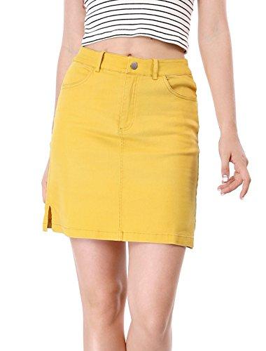 Allegra K Women's Back to Slit Sides Above Knee Straight Skirt Yellow M (US 10)