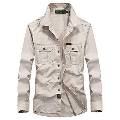 Camisas para Hombre Camisa De Algodón para Hombre Primavera Otoño Camisas Deportivas De Pesca De Manga Larga Transpirables Al Aire Libre XXXL Beige