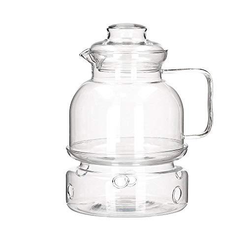 Termisil Tee Krug gerade + Kerze Heizung - 1.50L TEEKANNE mit Stövchen Deckel Glas Durchsichtig Kaffeekanne Glaskanne 1,5 L