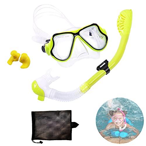 Kit de Snorkeling,Máscara de Snorkel para Niños,Gafas y Tubo de Snorkel Set,Set de Buceo para Niño,con Campo de Visión Panorámico de 180°,para Mujeres Y Hombres. (Amarillo)