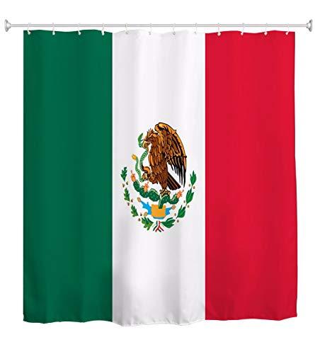 A.Monamour Duschvorhang Mexikanische Nationalflagge Mexiko Flagge Banner Print Wasserdicht Lange Verdicken Stoff Polyester Duschvorhang Set Mit Haken 180X180 cm / 72X72