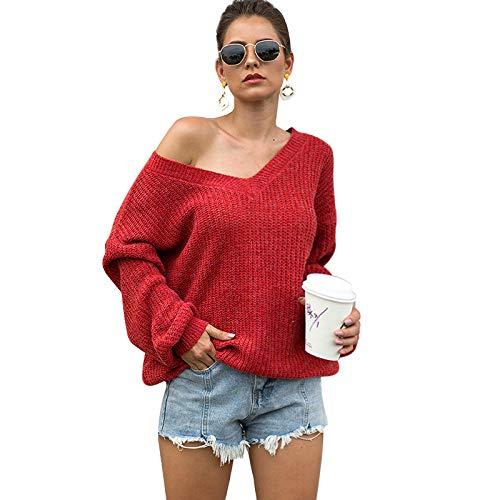 Avsvcb Suéter sin Tirantes de Las señoras Modelo Independiente suéter del cordón de la Espalda del Doble v-Cuello