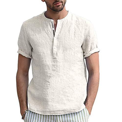 Yowablo Tshirts Tops Blouse Hommes Accueil Pure Color Button Linen Solid Short Sleeve Retro (M,Blanc)