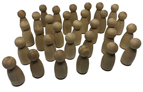 MEIERLE & Söhne 30 Holz Spielfiguren Männchen Figuren Holz-Figuren zum Bemalen Basteln Holz Spiel-Figuren Puppen Krippenfiguren Spielfiguren
