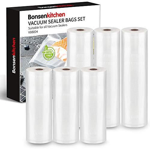 Bonsenkitchen Vakuumrollen 3 Rollen 28x300cm+ 3 Rollen 20x300cm Vakuumierfolie - Profi Vakuumbeutel für Vakuumierer & Lebensmittel Vakuumiergerät, BPA-frei,Sous Vide Gefrierbeutel - VB8004