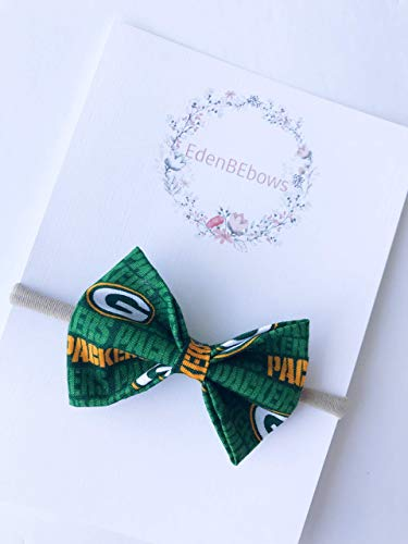 Green Bay Football headband bow - great for baby shower, newborn, toddler girls - extra soft nylon headbands - Made in USA