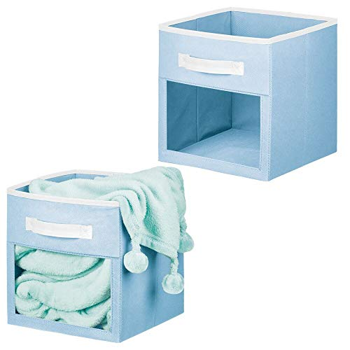 mDesign - Caja organizadora de almacenamiento de tela suave para armario, con ventana frontal fácil de ver, asa, para habitación de...