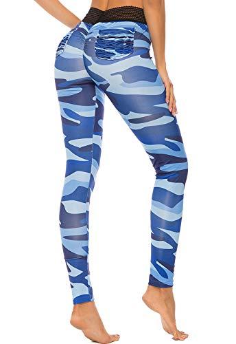 FITTOO Leggings Mallas Mujer Pantalones Deportivos Yoga Alta Cintura Elásticos y Transpirables Azul Chica