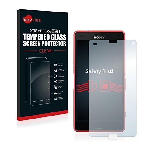 savvies Cristal Templado Compatible con Sony Xperia Z3 Compact Protector Pantalla Vidrio Proteccion 9H Pelicula Anti-Huellas