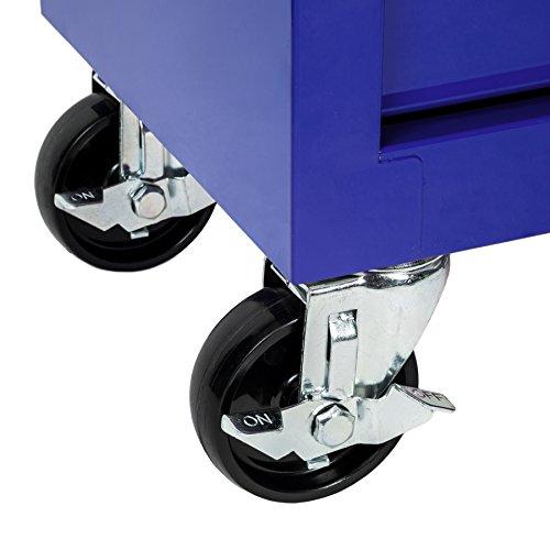 TecTake Werkzeugwagen Werkstattwagen | 7 verschließbare Schubfächer | Kugelgelagerte Gleitschienen | auf Rollen | -diverse Modelle- (Blau | Nr. 402801) - 6
