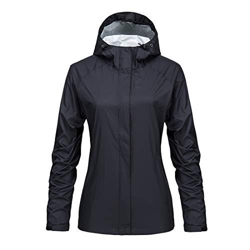 KISCHERS Women's Lightweight Raincoat Waterproof Hooded Rain Jacket Outdoor Windbreaker Black (Black, XXL)