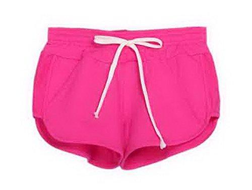 EOZY-Pantolono Sportivi di Cotone Pantaloncini Donna (Rosa, Taglia M Vita di 68cm)