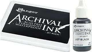 Ranger Archival Jet Black Permanent Dye Ink Stamp Pad & Re-Inker Refill