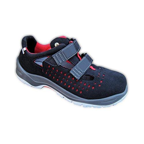 Sicherheitssandale - Super Leicht - Sicherheitsschuhe - Arbeitsschuh - Schuhe - Sicherheitsklasse S1P ESD - schwarz/rot - Schuhweite 11 - Gr. 42