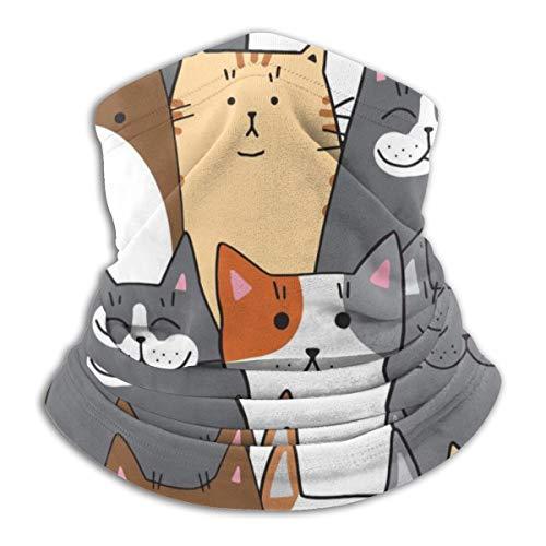 Muster der verschiedenen Katzen Meile Dichtungen mit Farbe rot Katze schwarz Unisex Winter Fleece Nackenwärmer Gamaschen Haarband kaltes Wetter Tube Gesichtsmaske Thermal Halstuch 9,8 x 11,8 Zoll