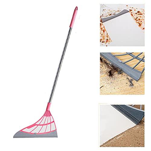Escoba para raspar, escoba de silicona 2 en 1, escoba universal para limpieza, raspador de piso, limpiador de cabello, escoba mágica lavable para sala de estar, cocina, baño, ventana (Rosa)
