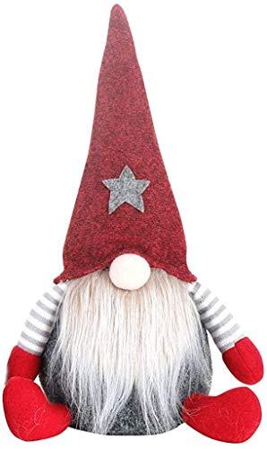 XXLYY Navidad Hecho a Mano Elf muñeco de Peluche sin Rostro de Navidad decoración de Juguete árbol de Navidad decoración de Mesa Regalo (Rojo)