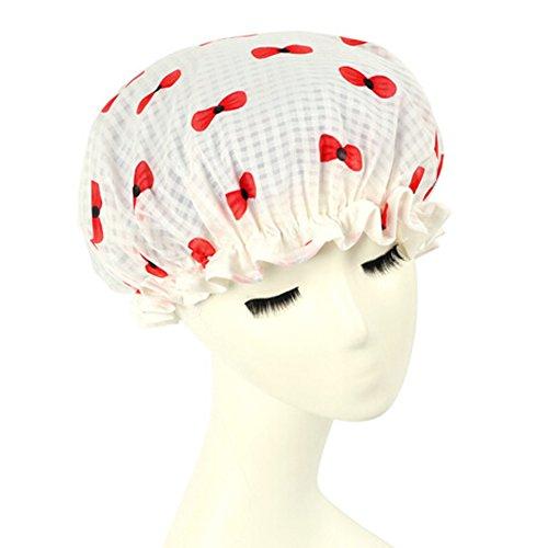 Bonnet de douche élégant bain étanche Cap bowknot Blanc / Rouge
