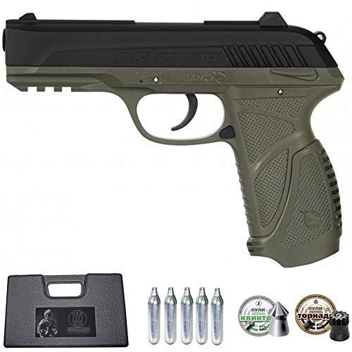 Ecommur. PT-85 blowback gamo Olive (Verde) | Pistola de Aire comprimido y perdigones semiautomática 4,5mm + maletín + 2 Cajas de balines y CO2
