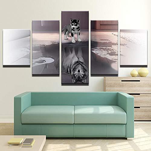 Schöne husky 5 stücke leinwand malerei3D Mode Malerei Familie Wandkunst HD Drucken Bild Tier Anime Abstrakte Wandbild