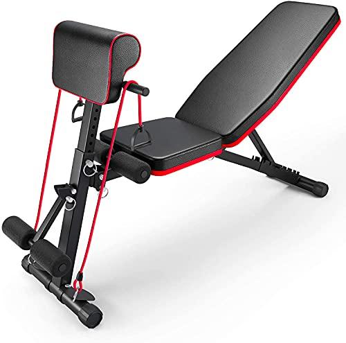 panca per sollevamento pesi regolabile, 4 in 1, per allenamento a casa, palestra, sollevamento pesi, allenamento gambe e panca per allenamento, 7 regolazioni angolari perfette