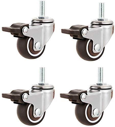 Ruedas 4 Ruedas para muebles 1 '(25 Mm) Rosca M6 | 1.5' Tornillo M8 | 2 '(50 Mm) Perno M10 | Ruedas giratorias silenciosas de goma Ruedas de carro industrial con freno para alfombras de piso de mader