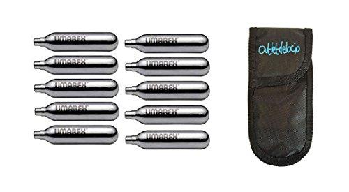 Outletdelocio. 10 bombonas co2 12gr. Umarex/Gamo/ASG para Pistolas y carabinas + Exclusiva Funda portabombonas