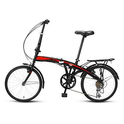 Bicicletta Pieghevole Leggera For Adulti Pieghevole Bici, Anti-gomma Della Bici Di Montagna Maschio E Femmina Adulti, 7 Velocità Leggero Mini Folding Bike-cerchi Da 20 Pollici ( Color : Black-Red )