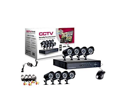 allarmshop Kit VIDEOSORVEGLIANZA h264 CCTV 8 CANALI Telecamera INFRAROSSI DVR 8 CANALI - 8 ALIMENTATORI - 8 PROLUNGHE - Hard Disk 1 TB