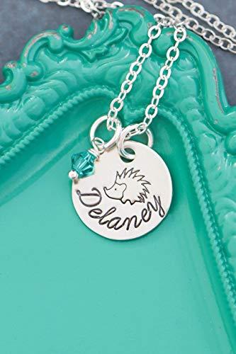 Hedgehog Necklace - Custom Name, Birthstone - Handstamped 5/8 Inch Disc - Cute