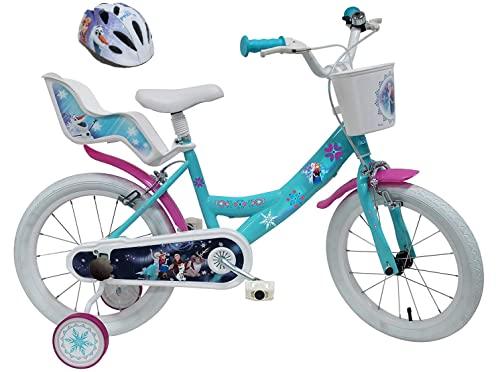 """Disney Velo 16"""" Fille Frozen 2 Freins Porte Poupee Ar + Casque Bicicleta Infantil, Niños, Multicolor, 16"""